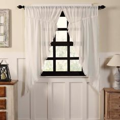 The sheer style of the VHC Brands Tobacco Cloth Prairie Swag Valance Set lends a light and breezy appeal to your farmhouse decor. This rod pocket swag. Rod Pocket Curtains, Panel Curtains, Valance, Window Panels, Ikea Curtains, Bedroom Curtains, Voile Curtains, Blue Curtains, Curtain Panels