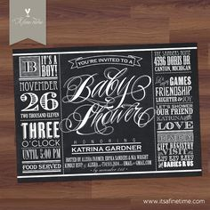 """Baby Shower Invitation - """"Lucky Label Chalkboard"""" Vintage Typography  Label / Poster Style - Boy, Girl, Twins, Gender Neutral (Printable)"""