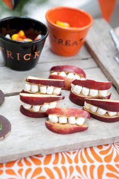 Apple Slices + peanut butter + marshmallows equal Halloween Fun! | #henhouselinens