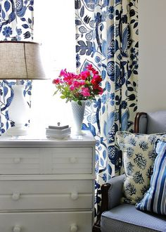 Blue & White floral drapes. Fabric to use Clarice in China from www.tonicliving.com