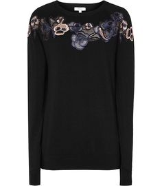 Amelia Black Embroidered Jumper - REISS