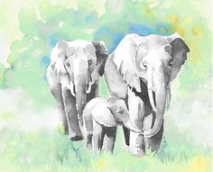 Elephant Mom, Dad, and Baby watercolor print in gray, teal, blue and yellow.Three elephants. Elephant family