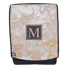 #trendy - #Modern Faux Rose Gold Marble Swirl Monogram Backpack