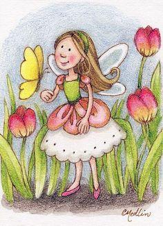 Tulip Fairy - Illustration by Carmen Medlin Cute Girl Illustration, Unicorns And Mermaids, Fantasy Images, Artist Portfolio, Fairy Princesses, Gif Animé, Clip Art, Whimsical Art, Art Day