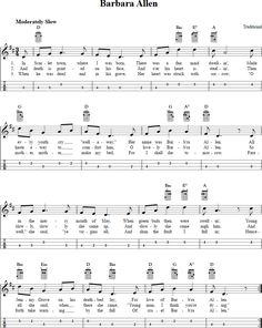 Free mandolin sheet music for Barbara Allen with chord diagrams, lyrics, and tablature. This music will also work on tenor banjo in GDAE tuning. Ukulele Tabs Songs, Ukulele Fingerpicking Songs, Banjo Tabs, Ukulele Chords, Mandolin Songs, Mandolin Lessons, Flute Sheet Music, Piano Music, Music Music