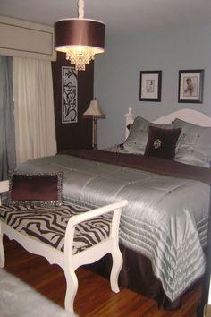 Master Bedroom  Dark Blue Accent Wall, Grayish Blue Walls, White Bedding,  Dark Brown Furniture, Silver Drapery, Brushed Nickel Hardware. I Am Satisu2026