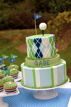 "Photo 32 of Golf / Birthday ""Gage is FORE.and a half! Golf Birthday Cakes, First Birthday Parties, First Birthdays, Golf Cakes, Birthday Ideas, Golf Baby Showers, Golf Theme, Golf Party, Let Them Eat Cake"