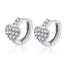 925 sterling silver earrings, heart shaped multi gemstone earrings ear clasp, korean fashion earrings, hypoallergenic