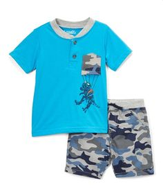7554ef3828 Nannette Kids Blue Camo Dinosaur Parachute Shorts Set - Infant, Toddler &  Boys | Zulily