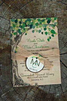 custom wood invitation by www.moderninvitations.ca