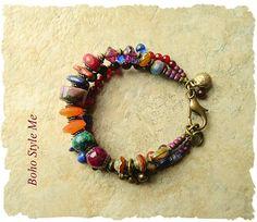 Boho Gemstone Bracelet Bohemian Jewelry Carnelian Multiple