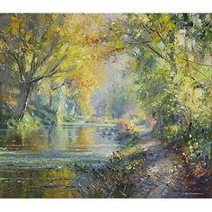 """'November Morning, Cromford Canal' 14"""" x 16"""" oil on canvas original by Rex Preston  Duffield Gallery"""