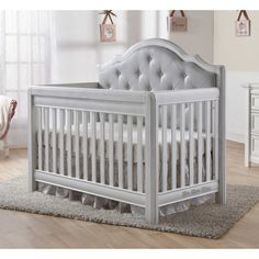Pali Cristallo Forever Crib - Vintage White with Grey Vinyl Upholstered Panel - $799.99 @ Bambi Baby & Direct Buy Baby