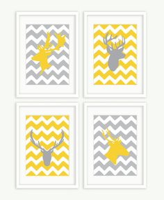 Chevron Deer Heads - Set of 4 Prints. $48.00, via Etsy.