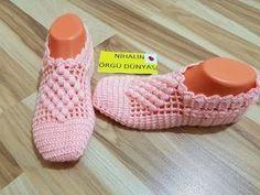 Bot patik yapımı ( kolay ayakta çok güzel duran bot şeklinde patik yapımı) crochet booties - YouTube