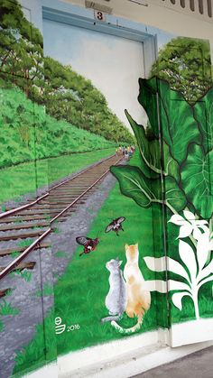 Tags: Railroad track with 2 cats and 2 butterflies graffiti free picture for commercial use, railroad track, two cats, two butterflies, ...