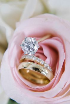 Classic gold solitaire engagement ring with eternity band | Photography: Sean Money Elizabeth Fay