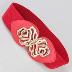 Retro Hollow Rose Decorated Thick Belt For Women
