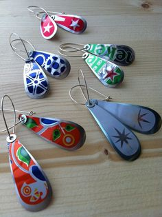 Aluminum cans earrings by zassdesign on Etsy, $23.00