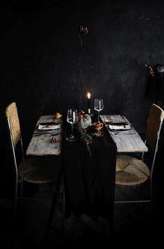 black table setting