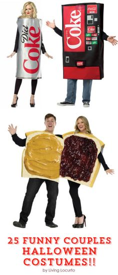 25 Funny Couples Halloween Costumes! These  hilarious Halloween costumes for couples are prize worthy for sure.  Get creative costume ideas to inspire you this season.