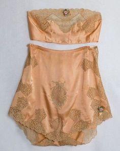 Peach silk charmeuse lingerie set (brassiere and tap pants) with lace appliqués and trim, by Boué Soeurs, French, 1920's - fine lingerie, dessous lingerie, open lingerie *ad