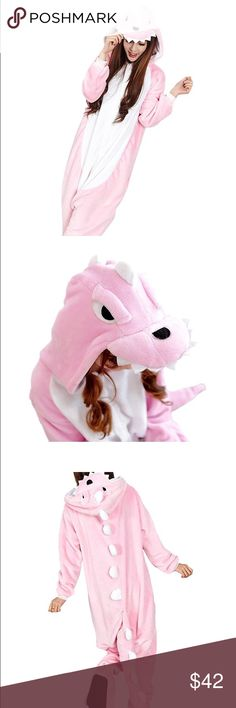 """Pink Dinosaur Onesie Bought this for Halloween and never wore it again. Adult-sized onesie. Size S 59""""-63""""(150-160cm). I am 5'2 and the length of the onesie was somewhat short - the pant hit my ankles. Does NOT come with the slippers. In perfect condition - super soft and comfortable. No use for it anymore so I'm selling. $36 + free shipping via 🅿️🅿️ Other"""