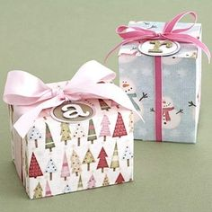 Fold Gift Boxes from Holiday-Theme Scrapbook Papers by summer