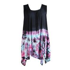 Dipped Tie Dye Vest Swing Dress