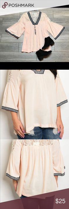 New Peach Boho Embroidered Top Women's Boutique Bohemian tunic top by Tassels N Lace. This cotton tunic features wide 3/4 sleeves, and an fashionable embroidered neckline. Content: 100% Cotton This listing is for the item(s) described in the title and description. Other clothing and accessories pictured are available separately. Thank you for viewing our listings! tassels n lace Tops Blouses