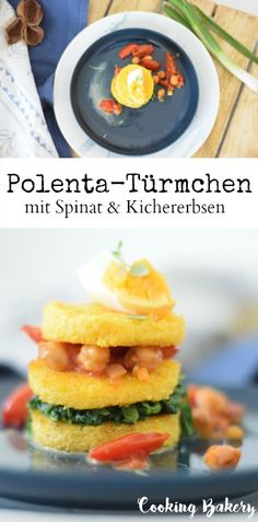 Polenta-Türmchen mit Spinat, Kichererbsen und Tomate - COOKING BAKERY Polenta, Fresh Rolls, Cantaloupe, Fruit, Ethnic Recipes, Food, Chic Peas, Tomatoes, Types Of Cereal