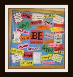 """Board Title: SEMINAR FAVORITES ~ Most Popular Pin on Board (""""Be"""" Bulletin Board) Link: http://www.pinterest.com/pin/212443307395353162/   ***This pin will take you to a blog where you can download the templates for the display pictured here. The pin board from which it was taken is the one I use in workshops to showcase pins from multiple boards. To get teaching tips & lessons sent to you once a month click http://elaseminars.com/opt-in-1.htm"""