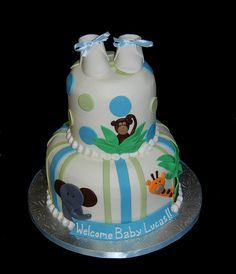 Jungle themed new baby cake by Simply Sweets, via Flickr