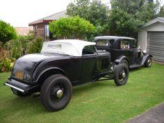 1932 Ford roadster: Front 5.50 - 18 Firestone; Rear 7.00 - 18 STA Super Transport (from Coker)  bardahl1 HAMB