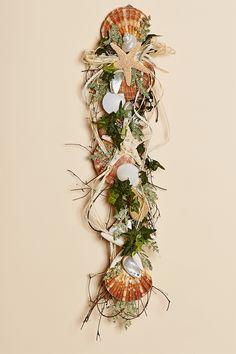 "24"""" Long Vertical Silk Vine Shell Swag with Irish Flat Shells, Starfish and Multiple Shells"