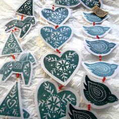Christmas Lino Print Garlands by Mangle Prints by maricela - Printing Stamps Nordic Christmas, Noel Christmas, Handmade Christmas, Christmas Crafts, Xmas, Christmas Ideas, Christmas Photos, Scandinavian Christmas Ornaments, Primitive Christmas