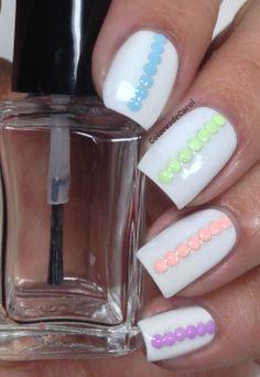 Colores de Carol: White nails and pastel studs. Born Pretty Store Collaboration