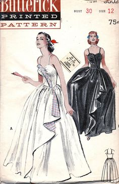 UNCUT 1950s Strapless Breathtaking Bouffant Evening by anne8865, $75.00