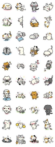 Adorable Kawaii cat illustrations 画像 and like OMG! get some yourself some pawtastic adorable cat apparel! Chat Kawaii, Kawaii Cat, I Love Cats, Crazy Cats, Cute Cats, Funny Cats, Doodles Bonitos, Cute Doodles, Kawaii Doodles