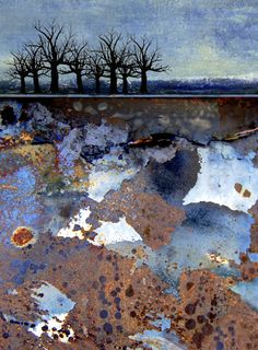 Sanquine Sky Contemporary abstract landscape composition created from digital images of rusted and weathered metal surfaces. Using digital photography images, the high quality giclee print is printed in the studio Abstract Landscape Painting, Watercolor Landscape, Landscape Art, Landscape Paintings, Abstract Art, Mix Media, Mixed Media Art, Level Design, Encaustic Art