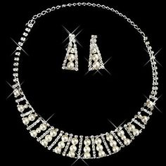Silver Pearl Two Piece Twinkling Beaded Ladies' Wedding Jewelry Set(45 cm)