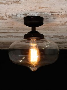 Antique flush fitting with our District Range 'QUEENS' glass and a filament bulb. Lighting Uk, Flush Lighting, Lighting Online, Light Bulb, Perfume Bottles, Lights, Glass, Queens, Range