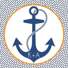 anchor favor stickers, anchor party favor tags, nautical wedding favors, nautical wedding decor from party box design