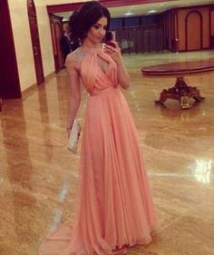 Cheap A line Sleeveless Open Back Chiffon Coral Prom Dress/Sexy Evening Gown