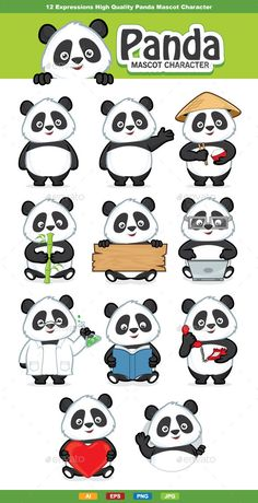 12 Expressions panda mascot character, High quality vector character mascot illustration. Fully customizable in AI and EPS, Also a