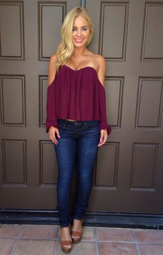 Plum off-shoulder blouse