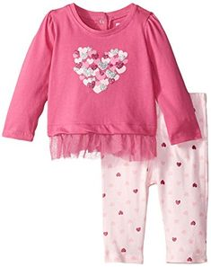 Vitamins Baby BabyGirls Newborn Multi Color Heart 2 Piece Pant Set Pink 6 Months -- You can get additional details at the image link.