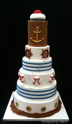 Nautical wedding cake @Susie Salcido