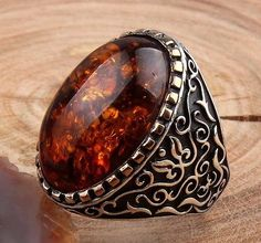 Turkish Handmade 925 Sterling Silver Fire Amber Mens Ring Sz 10 us Free Resize Silver Gifts, Silver Rings Handmade, Sterling Silver Jewelry, Silver Earrings, Gold Chains For Men, White Gold Rings, Bracelets For Men, Jewelry Design, Craft Jewelry