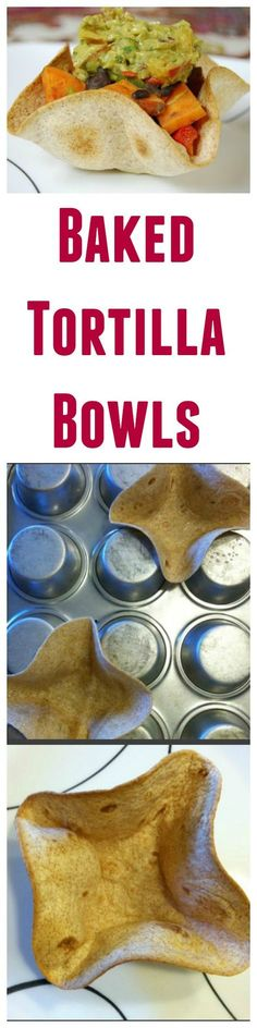 Did you know it's super easy to make tortilla bowls at home? Use whole wheat tortilla shells and bake them in the oven for a healthy, edible taco bowl!